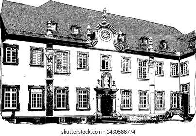 Ancient building, public park of Steinfeld Abbey, Germany (vector)