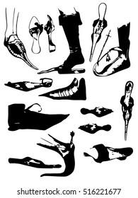 Ancient Byzantium shoes sketch. Hand drawn vector illustration set.