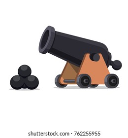 Ancient cannon with cannon balls. Flat style Illustration of vintage cannon on a white background. Medieval weapons for your design.