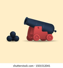 An ancient cannon with cannonballs. Medieval weapons. Vector illustration.
