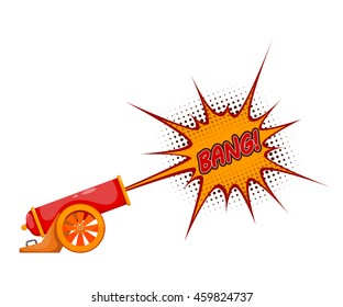 Ancient cannon. Color illustration of vintage cannon firing on a white background. Stock vector illustration
