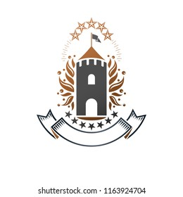 Ancient Castle emblem. Heraldic Coat of Arms decorative logo isolated vector illustration. Ornate logotype in old style on white background.