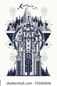 Ancient castle on the mountain tattoo and t-shirt design. Symbol of the fairy tale, dream, magic castle