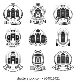 Ancient Castles emblems set. Heraldic Coat of Arms decorative logos isolated vector illustrations collection.