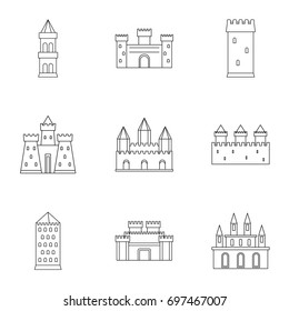 Ancient castles icon set. Outline style set of 9 ancient castles vector icons for web isolated on white background
