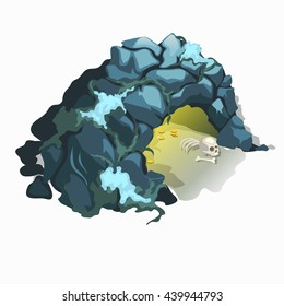 Ancient cave with gold coins and the remains of a man isolated on a white background. Vector illustration.
