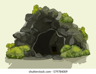 Ancient cave with green bushes on a white background, vector illustration