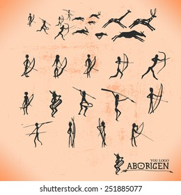 Ancient cave paintings of primitive people, the Aborigines, the moments of hunting and production of food, vector silhouette Aboriginal individual elements for you