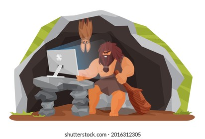 Ancient caveman using computer in prehistoric cave vector illustration. Cartoon stone age wild man character sitting with pc and wooden club in hand, neanderthal people evolution isolated on white