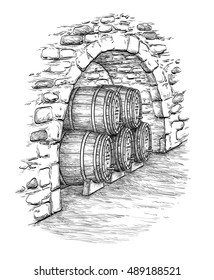 Ancient cellar with wine wooden barrels. Isolated on white background. Hand drawn vector illustration.