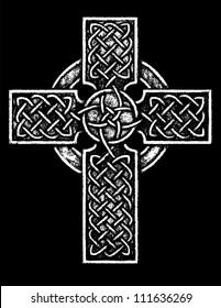 Ancient Celtic Cross: Black and White version Black and white vector illustration of an ancient celtic cross with traditional celtic knotwork detailing.