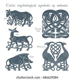 Ancient celtic mythological symbol animals set. Vector knot ornament.
