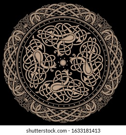 Ancient celtic mythological symbol of bird. Celtic knot ornament, isolated on black, vector illustration