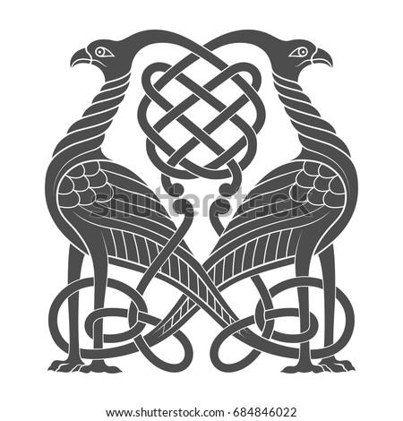 Ancient Celtic Mythological Symbol Bird Vector Stock Vector Royalty