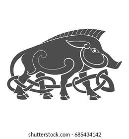 Ancient celtic mythological symbol of boar. Vector knot ornament.