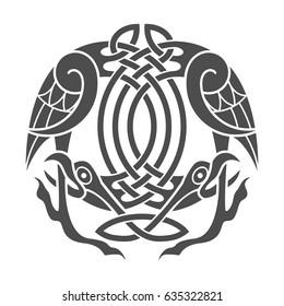 Ancient celtic mythological symbol of eagle. Vector knot ornament.