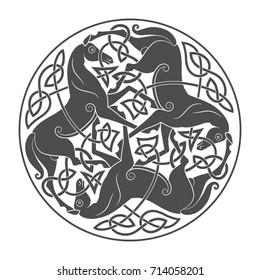 Ancient celtic mythological symbol of horse trinity. Vector knot ornament.