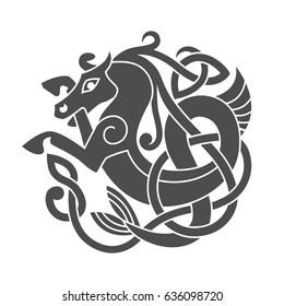 Ancient celtic mythological symbol of sea horse. Vector knot ornament.