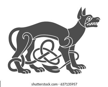 Ancient celtic mythological symbol of wolf, dog. Vector knot ornament.