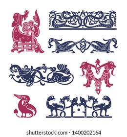 Ancient Celtic, Old Russian, Slavic mythological symbols of animals. Vector knot ornament.
