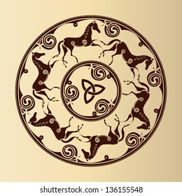 ancient celtic symbol of horses in circle