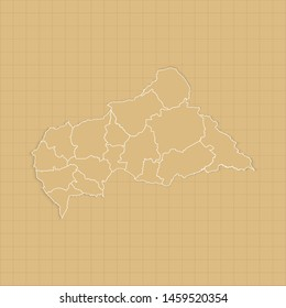 Ancient Central African Republic map old paper background with space for text. Vector illustration EPS10.