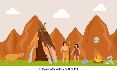 Ancient character male female hunting prehistoric tiger flat vector illustration. Tribe on hunt wildlife nature hunter skin predator, past ages time. Man spear defence primitive tent.
