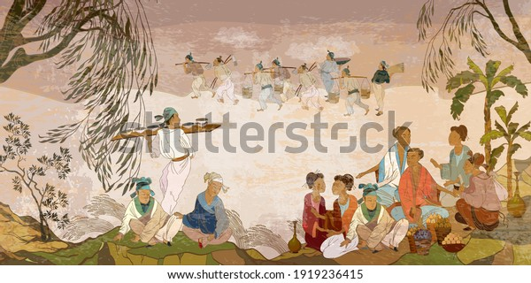 Ancient China. Hand-drawn vector illustration. Oriental people. Tea ceremony. Traditional Chinese paintings. Tradition and culture of Asia. Classic wall drawing. Murals and watercolor asian style