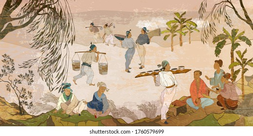 Ancient China. Oriental people. Tea ceremony. Old village, peasants. Traditional Chinese paintings. Tradition and culture of Asia. Classic wall drawing. Murals and watercolor asian style