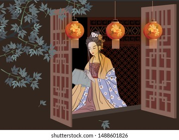 Ancient Chinese beautiful woman sat embroidery  in a room of house adorned with Chinese lanterns and composed of trees near the house-vector