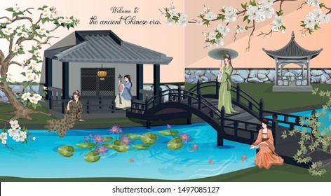 An ancient Chinese ladies in house .Pavilion with the bridge on lake around with peach flowers