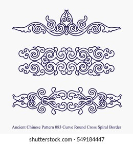 Ancient Chinese Pattern of Curve Round Cross Spiral Border