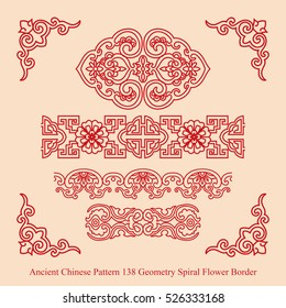 Ancient Chinese Pattern_138 Geometry Spiral Flower Border