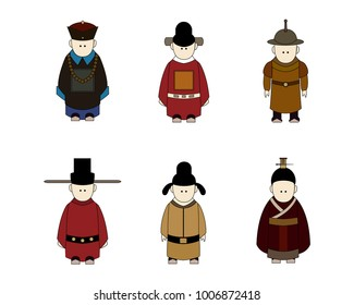 Ancient Chinese People Cartoon, Classic Dressing, Different Dynastic Suits