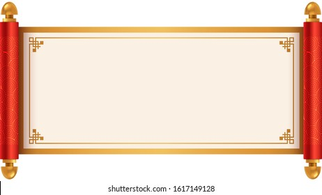Ancient Chinese scroll illustration with place for your text. Cartoon style vector illustration.