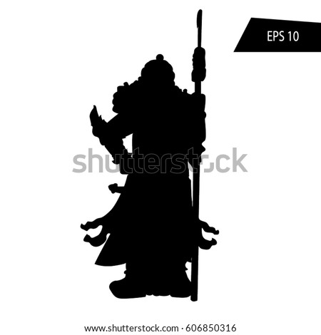 Ancient Chinese Warrior Silhouette Illustration White Stock Vector