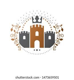 Ancient Citadel emblem. Heraldic vector design element. Retro style label, heraldry logo. Antique logotype on isolated white background.