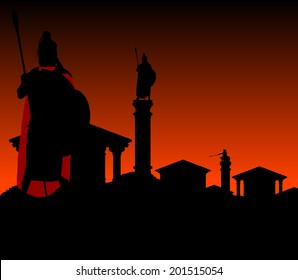 ancient city with guardian. first variant. vector illustration