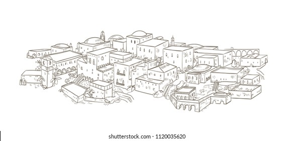 Ancient city with old buildings of oriental architecture hand drawn with contour lines on white background. Monochrome drawing of Jerusalem or Baghdad. Beautiful cityscape. Vector illustration