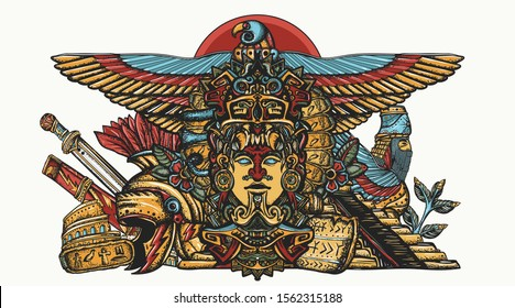 Ancient civilizations. History of the old world. Totem Maya, Egypt gods, pyramids of sumers, helmet and sword Roman gladiator. Global historical concept. Tattoo art