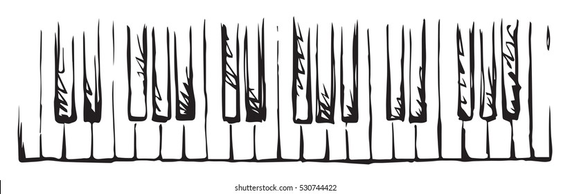 Ancient clavichord tune scale isolated on light backdrop. Freehand outline ink hand drawn picture sketchy in artist retro scribble style pen on paper. View close up with space for text