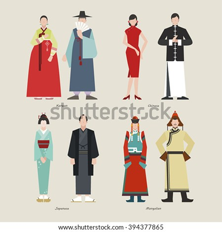 691a43cfb6d8f Ancient Clothing Korean Chinese Japanese Mongolian Stock Vector ...