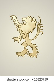 Ancient coat of arms lion. Looks great standing alone or holding something. Copy/paste/reflect and 2 lions can be holding a banner.