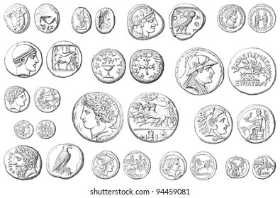 Ancient coins collection (roman and greek) / vintage illustration from Meyers Konversations-Lexikon 1897