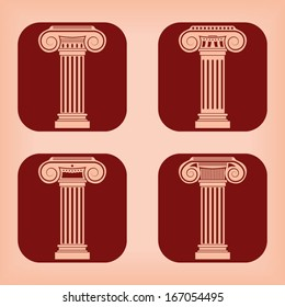 Ancient column icon - four variations