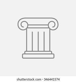 Ancient column line icon for web, mobile and infographics. Vector dark grey icon isolated on light grey background.