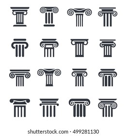 Ancient columns vector icon set. Vector black column icons set on white background.
