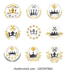 Ancient Crowns emblems set. Heraldic vector design elements collection. Retro style label, heraldry logo.
