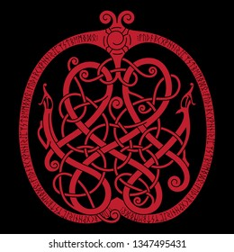 Ancient decorative dragon in celtic style, scandinavian knot-work illustration, isolated on black, vector illustration