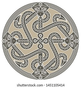 Ancient decorative dragon in celtic style, scandinavian knot-work illustration, isolated on white, vector illustration
